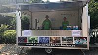Kampf gegen die Hitze – Kostenloses Trinkwasser am Augustaplatz – Trinkwasserstand der Stadtwerke