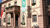 Friedensfahne am historischen Rastatter Rathaus – Organisatoren wollen Zeichen setzen für Erhalt des INF-Vertrages
