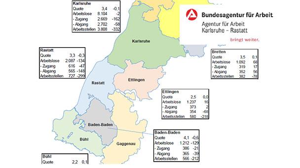 Arbeitslosigkeit in Baden-Baden, Rastatt, Karlsruhe gestiegen – Ein Zehntelprozent auf 3,2 Prozent