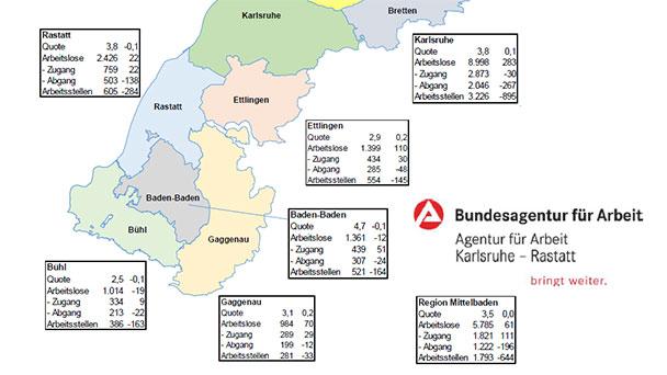 """Arbeitslosenquote in Karlsruhe Rastatt Baden-Baden bei 3,6 Prozent – """"Saisontypischer Anstieg der im Januar"""""""
