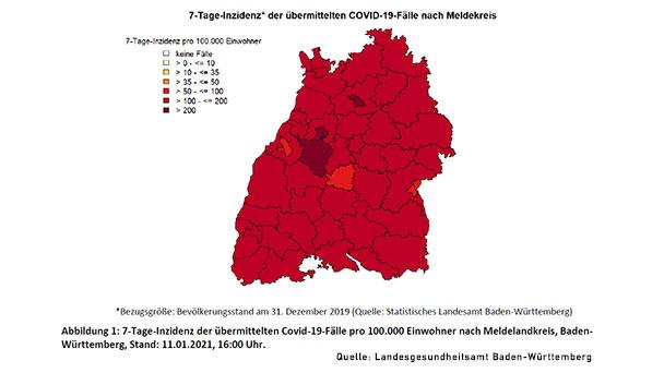 Niedrigste 7-Tage-Inzidenz in Baden-Baden und Landkreis Tübingen – Landkreis Rastatt deutlich höher