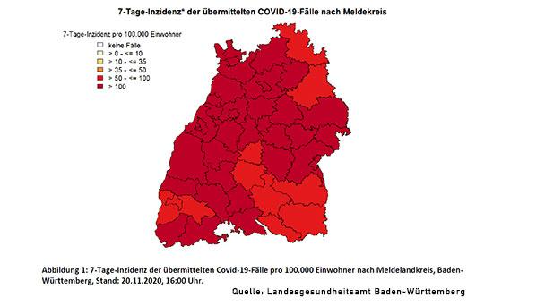 Baden-Baden steigt weiter auf Inzidenz-Wert 110,5 – Landkreis Rastatt nun fast gleichauf mit 110,6 – Mannheim Höchstwert mit 243,4