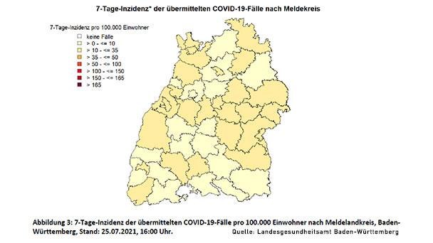 Baden-Baden und Landkreis Rastatt bleiben bei 25,4 und 14,3 – Stadtkreis Karlsruhe wieder knapp unter 10