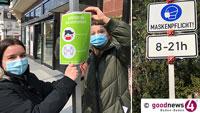 Blaue und grüne Corona-Schilder in Baden-Baden – Mundschutz tragen oder Maskenpflicht?