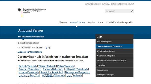 """Informationen zu Corona in zwölf Sprachen – Auch """"einfache deutsche Sprache"""""""