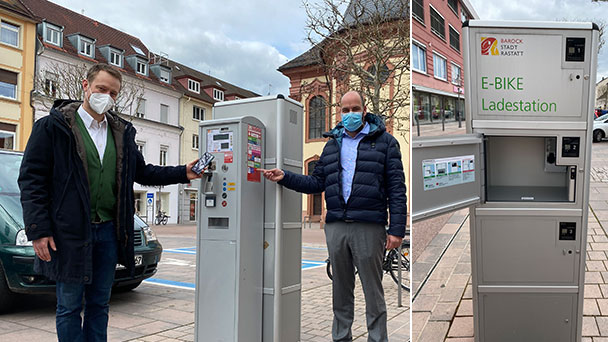 Parkgebühren in Rastatt per Mobiltelefon bezahlen – E-Bike-Ladestationen in oberer Kaiserstraße