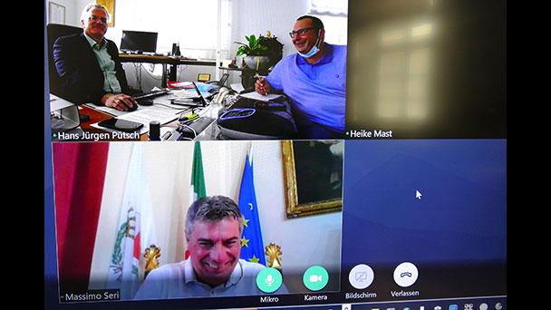 Videokonferenz von OB Pütsch mit Bürgermeistern von Rastatts Partner- und Patenstädten - Austausch über Corona-Pandemie