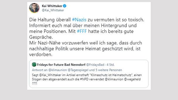 """Kai Whittaker sieht sich Vorwürfen einer """"Nazi-Nähe"""" ausgesetzt – """"Die Haltung überall Nazis zu vermuten ist toxisch"""""""