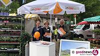 Baden-Badener CDU im Wahlkampf – Am Wochenmarkt Lichtental, Bahnhof und  Blumenbrunnen