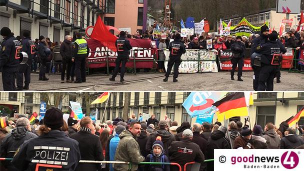 """Demonstrationen vor SWR in Baden-Baden – 150 Teilnehmer gegen öffentlich-rechtlichen Rundfunk – 350 bei Gegendemonstration – """"Haut ab, haut ab"""""""