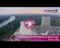 Kühltürme von AKW Philippsburg gesprengt