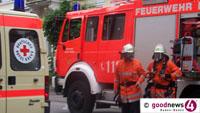 Wohnungsbrand in Waldseestraße - Feuerwehr rettete Menschen über die Drehleiter