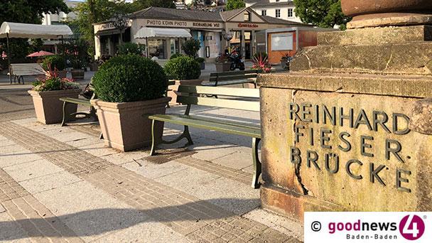 Schriftzug und historische Vasen fehlen noch – Baden-Badener Fieser-Brücke in neuem Glanz – Poller noch im Juli