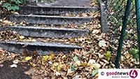 Gefährliches Laub – Rutschgefahr auf Baden-Badens steilen Wegen – Rathaus mahnt: Gehwege fegen