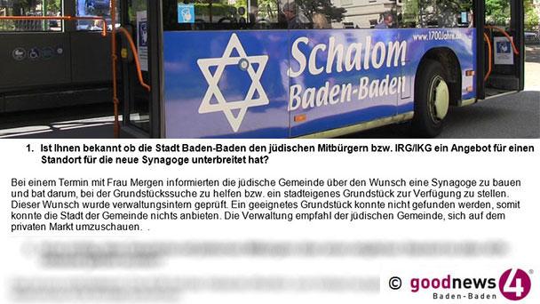 """Doppelmoral im Rathaus – Synagoge in Baden-Baden leider nicht willkommen – Linienbus """"Schalom Baden-Baden"""" nur Symbolpolitik"""
