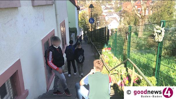 Zweifel am Sinn der Maskenpflicht – Schülergrüppchen ohne Maske rund um Baden-Badener Schulen – Maskenpflicht bei Abi-Prüfung