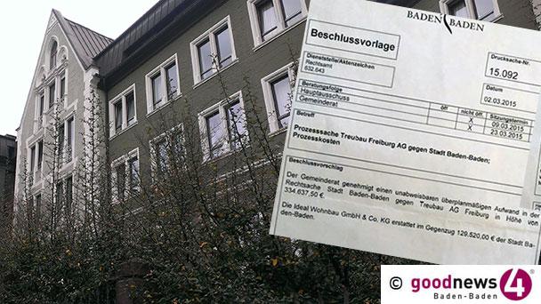 """HEUTE GENAU VOR EINEM JAHR – Baden-Badener Rathaus will keine """"Spende"""" von Ideal Wohnbau – Fantasiereiche Version zu offener Rechnung von 129.520 Euro – Gutgläubiges Regierungspräsidium Karlsruhe"""