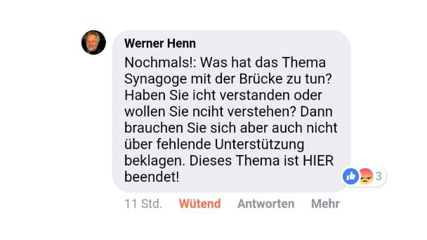 """Erzürnter SPD-Stadtkreisvorsitzender Werner Henn – """"Was hat das Thema Synagoge mit der Brücke zu tun?"""""""