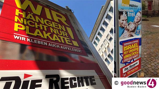 """HEUTE GENAU VOR EINEM JAHR: Demonstration am Wahlsonntag in Baden-Baden – Strafanzeige der Stadt Baden-Baden wegen Plakate der Partei """"Die Rechte"""" – """"Wir hängen nicht nur Plakate"""""""
