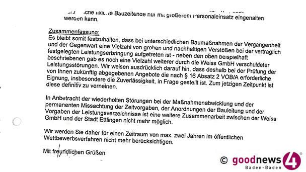 """Vorwürfe der Stadt Ettlingen an Baden-Badener Baufirma Weiss - """"Vielzahl von groben und nachhaltigen Verstößen"""" - Seit sieben Jahren """"keine weiteren Aufträge erteilt"""""""