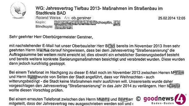 """Ergebnislose Suche im Baden-Badener Rathaus - OB Mergen: """"Wir suchen seit zwei Monaten das Schreiben"""""""